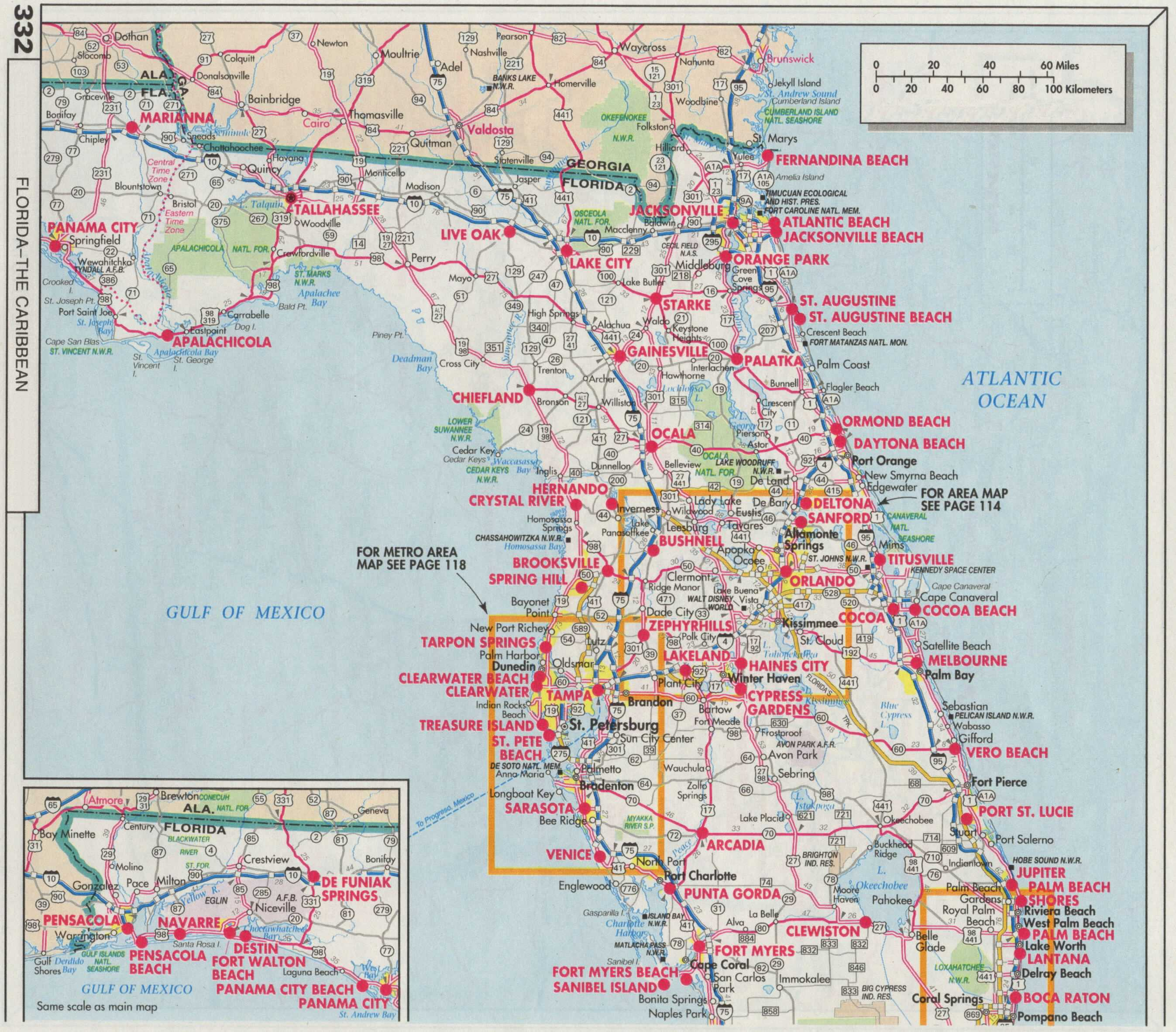 Road Map Florida crime spot map map showing equator