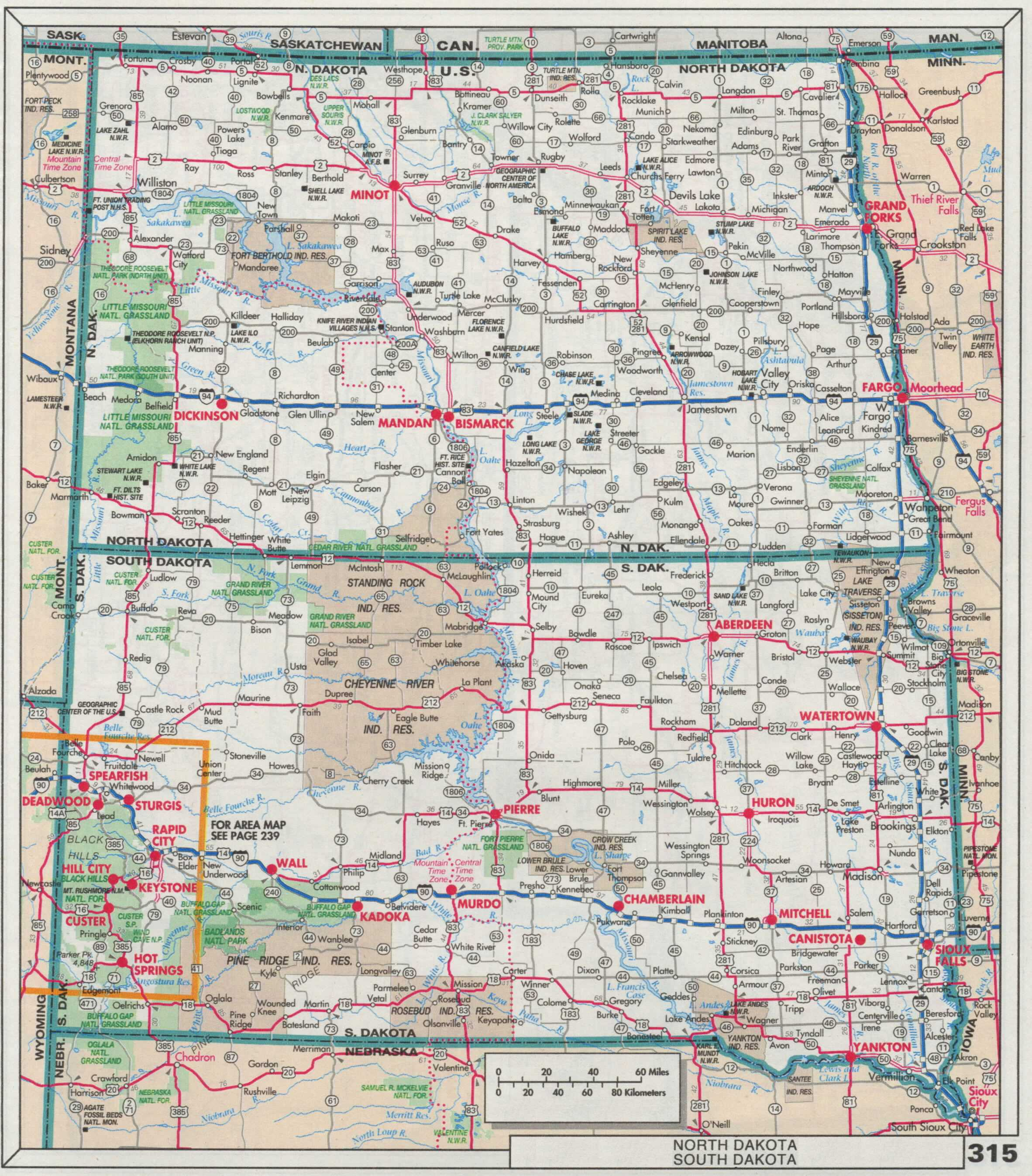 The Web Shell - Road map of south dakota