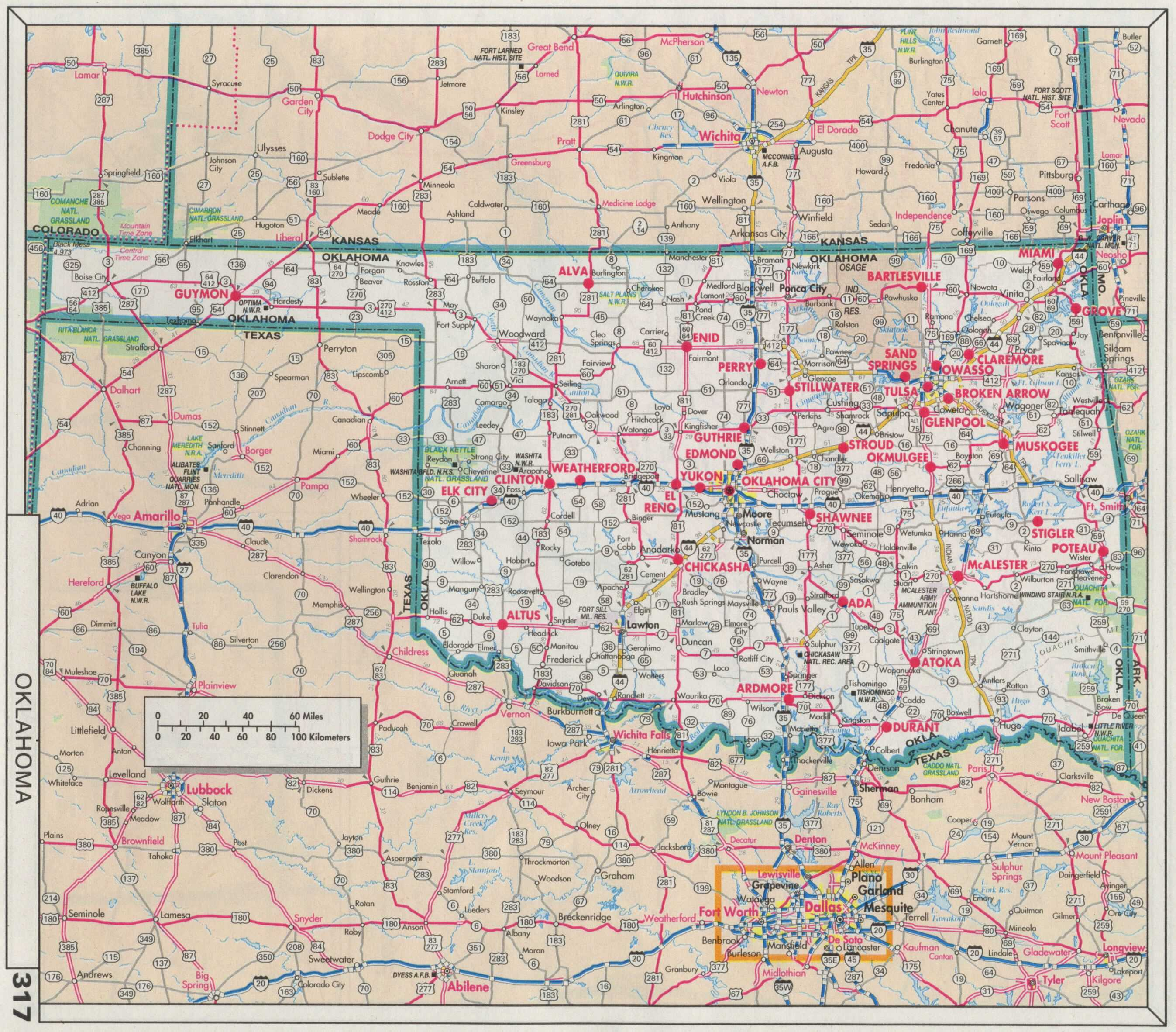 Road Atlas Map Of Oklahoma Tidal Treasures - Okla map